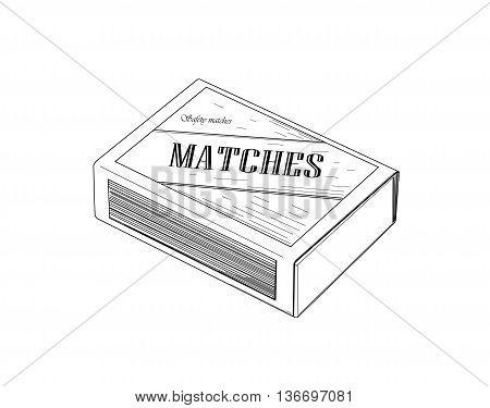 Matchbox crawing design - modern vector illustration.