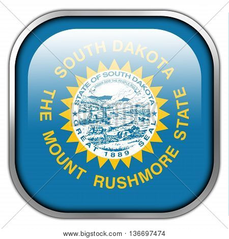Flag Of South Dakota State, Square Glossy Button