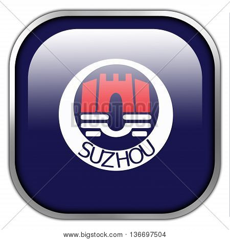 Flag Of Suzhou, China, Square Glossy Button