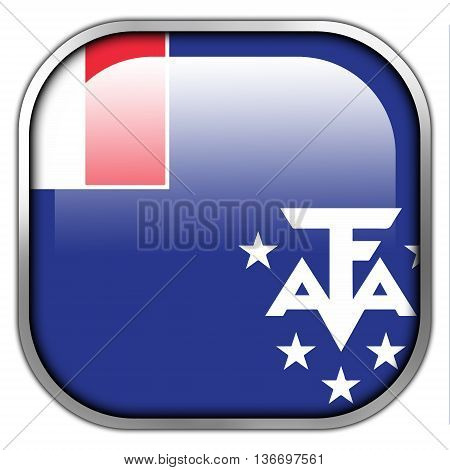 Flag Of The French Southern And Antarctic Lands, Square Glossy Button
