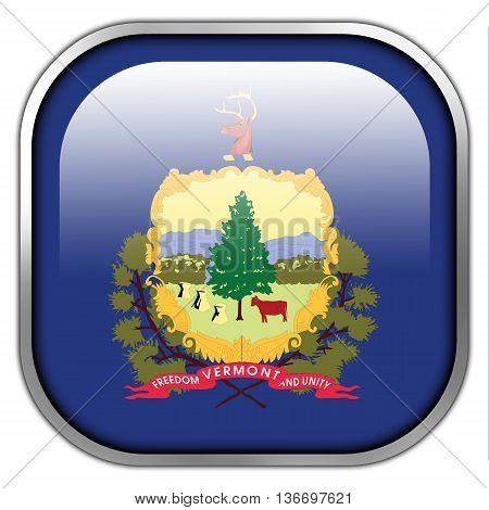 Flag Of Vermont State, Square Glossy Button
