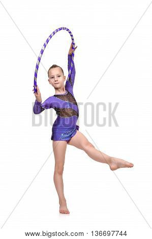 Artistic Athlete Performs With Hula Hoop