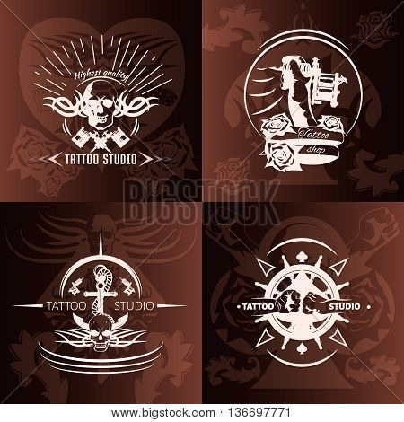 Tattoo studio compositions with white emblems with transparent elements on brown background with pattern isolated vector illustration