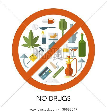 No drugs composition with isolated colored icon set red prohibition sign and title no drugs vector illustration