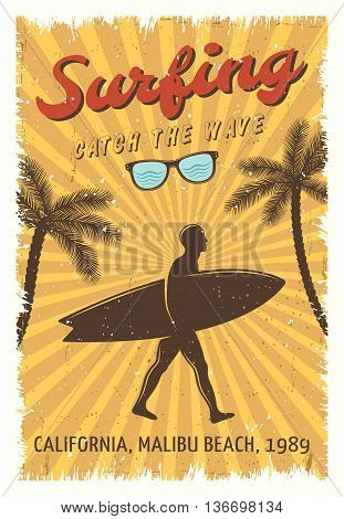 Surfing retro poster with man walking on the beach and headline surfing catch the wave vector illustration