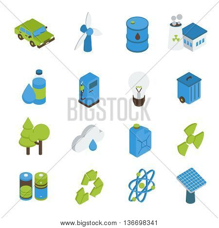 Ecology isometric icons set with electric car bio fuel green energy forests recyclable sign isolated vector illustration