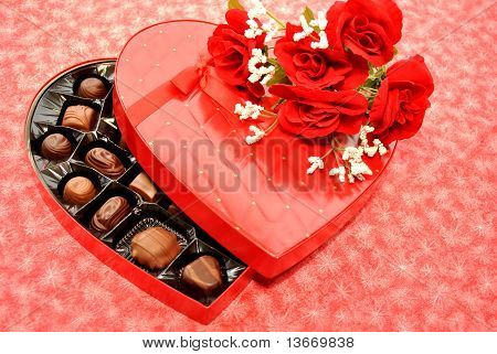 Heart Candy with Red Roses