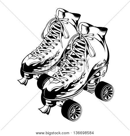 Pair of monochrome quad roller skates with print fire on boots on white background isolated vector illustration