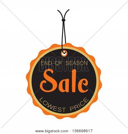 End of season sale tag isolated on a white background