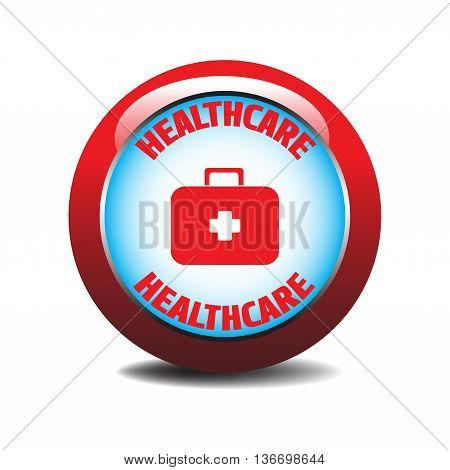Healthcare button with emergency suitcase design isolated on a white background