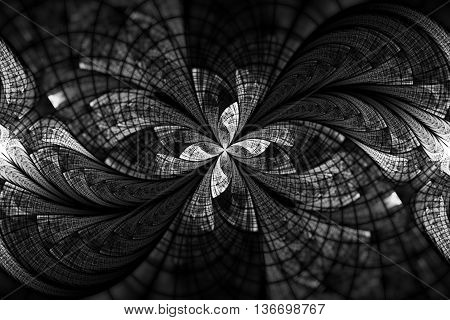 Abstract floral ornament on black background. Symmetrical pattern in black and white colors. Fantasy fractal design for postcards wallpapers or t-shirts.