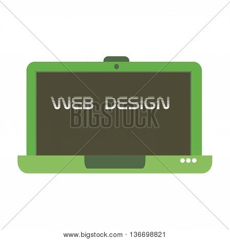Isolated green laptop with the text web design written on its screen