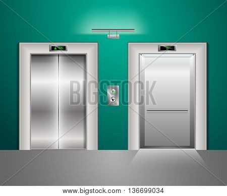 Open and Closed Modern Metal Elevator Doors. Hall Interior in green and blue Colors. Wall lamp and light