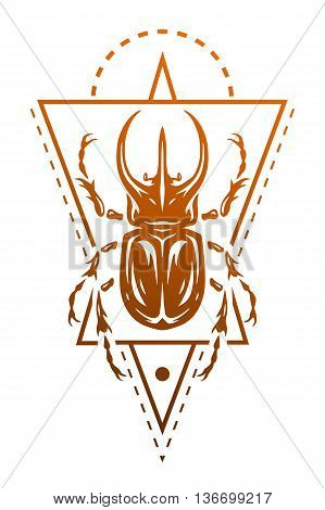 Rhinoceros beetle and geometric elements. Symbol insect. Vector illustration.