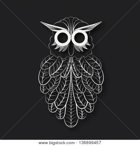 Paper owl. The white paper, black background, owl cutout style.