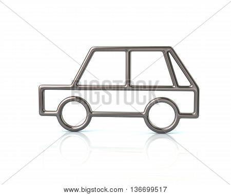 3D Illustration Of Silver Hatchback Car Icon