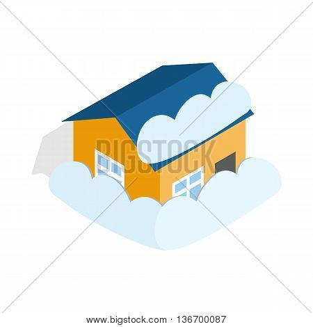 House covered with snow icon in isometric 3d style on a white background