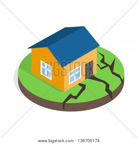 House after an earthquake icon in isometric 3d style on a white background
