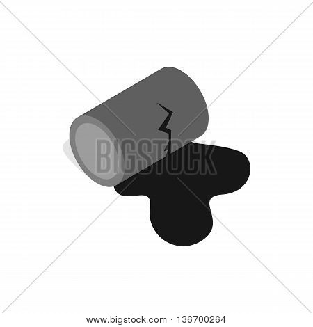 Oil is spilling from the barrel icon in isometric 3d style on a white background