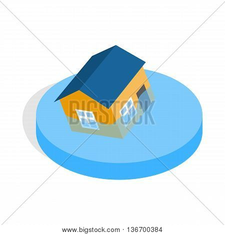 House sinking in a water icon in isometric 3d style on a white background