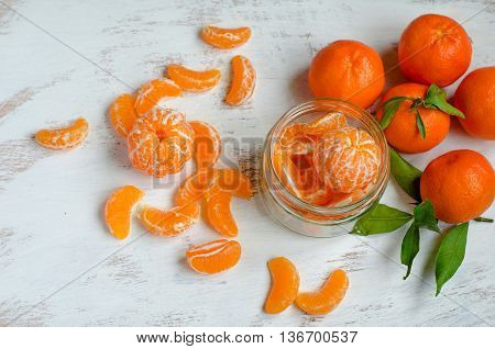 Ripe Tangerines On White Background