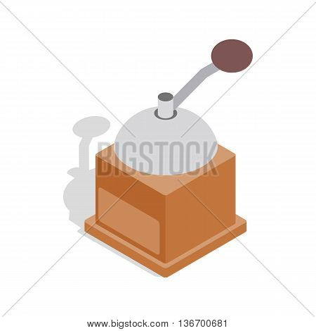 Coffee grinder icon in isometric 3d style on a white background
