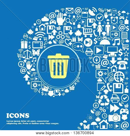 Bin Icon . Nice Set Of Beautiful Icons Twisted Spiral Into The Center Of One Large Icon. Vector