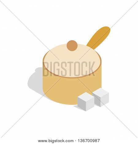 Sugar bowl icon in isometric 3d style on a white background