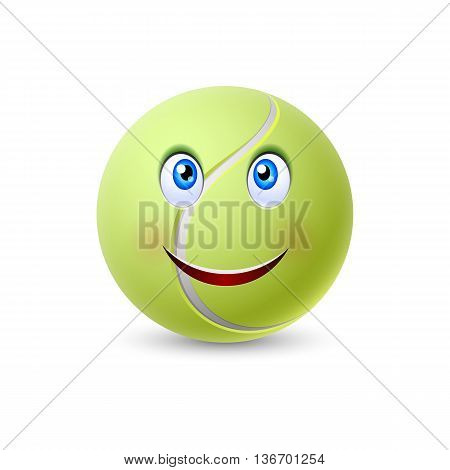Ball for tennis with smiling face isolated on white background