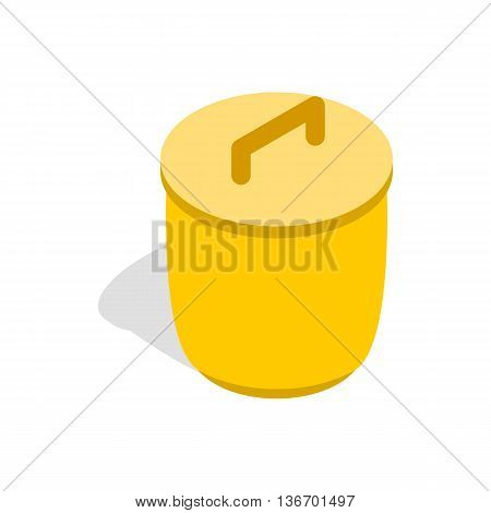 Closed yellow trash can icon in isometric 3d style on a white background