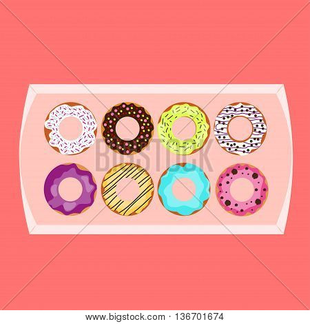 Donuts box. Vector illustration Different tastes of donuts in one box. Flat design