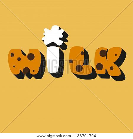 Decorative inscription milk The word milk from texture of cookies and milk drink. Flat design