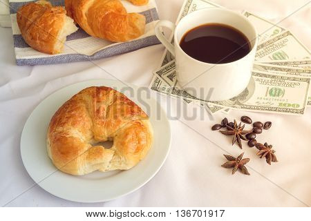 Tasty croissant coffee still life wooden background bakery breakfast brunch flat lay