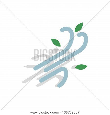 Wind icon in isometric 3d style on a white background