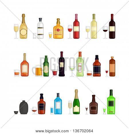 Set of alcohol drink bottles
