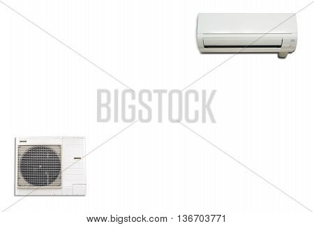 Wall air conditioning and compressor isolated on white background.