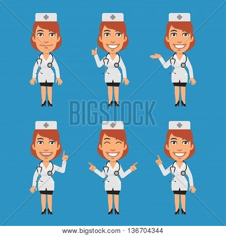Vector Illustration, Woman Doctor Shows and Indicates, Format EPS 8