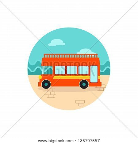Double decker open top sightseeing and city bus vector icon. Summer. Summertime. Holiday. Vacation eps 10