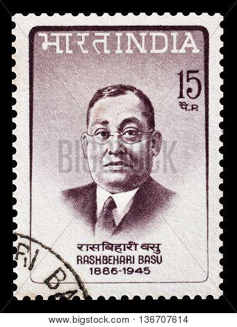 INDIA - CIRCA 1967 : Cancelled postage stamp printed by India, that shows Rashbehari Basu.