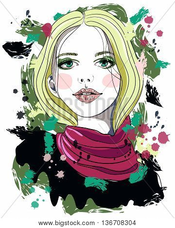 Portrait of beautiful girl with blonde hair on abstract background. Fashion illustration. Print for T-shirt