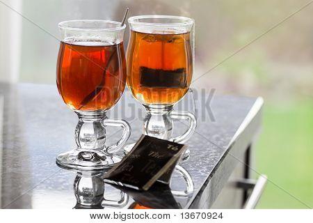 Teaglasses With Tea On Kitchen Dresser