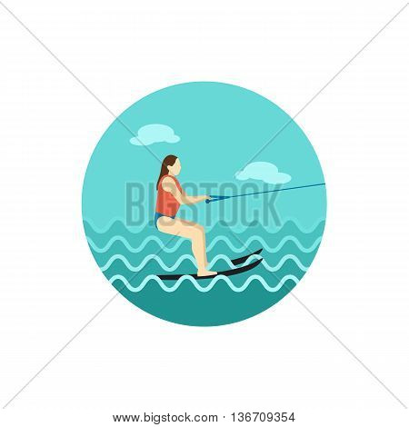 Water skiing vector icon. Beach. Summer. Summertime. Holiday. Vacation ride water sport eps 10
