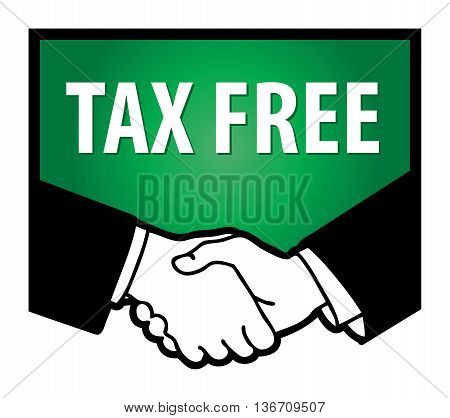 Business handshake and text Tax Free, vector illustration