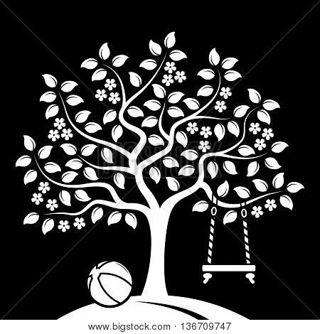 vector flowering tree with swing and ball isolated on black background