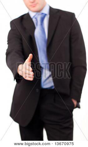 Empresario con un apretón de manos en cámara