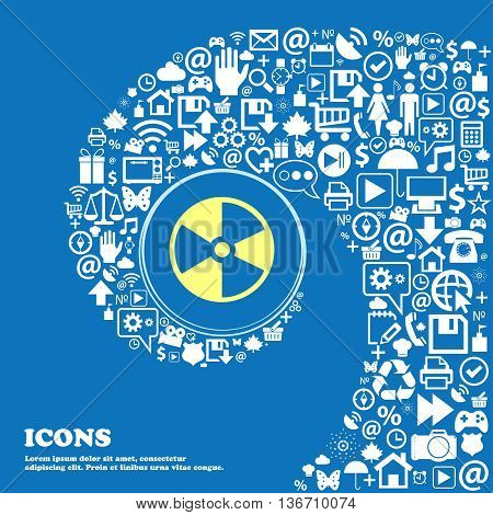 Radioactive Icon . Nice Set Of Beautiful Icons Twisted Spiral Into The Center Of One Large Icon. Vec