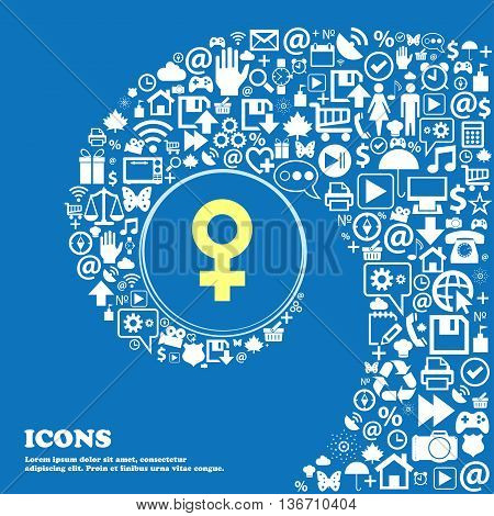 Female Icon . Nice Set Of Beautiful Icons Twisted Spiral Into The Center Of One Large Icon. Vector