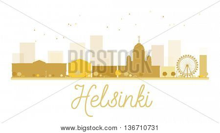 Helsinki City skyline golden silhouette. Simple flat concept for tourism presentation, banner, placard or web site. Business travel concept. Helsinki isolated on white background