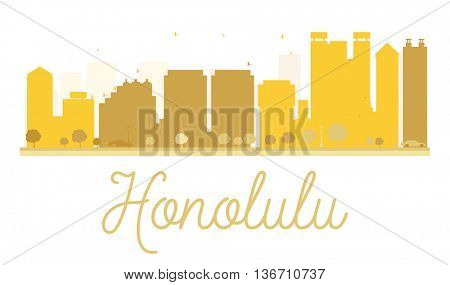 Honolulu City skyline golden silhouette. Simple flat concept for tourism presentation, banner, placard or web site. Business travel concept. Honolulu isolated on white background