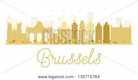 Brussels City skyline golden silhouette. Simple flat concept for tourism presentation, banner, placard or web site. Business travel concept. Brussels isolated on white background
